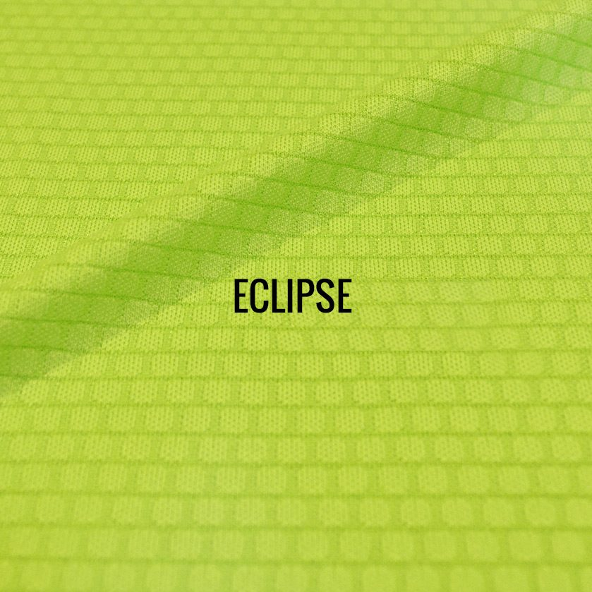 Eclipse performance fabric. Unique graphic texture gives this fabric a super lightweight and airy feel, also with a modern look. Smooth against the skin. 100% Performance Poly