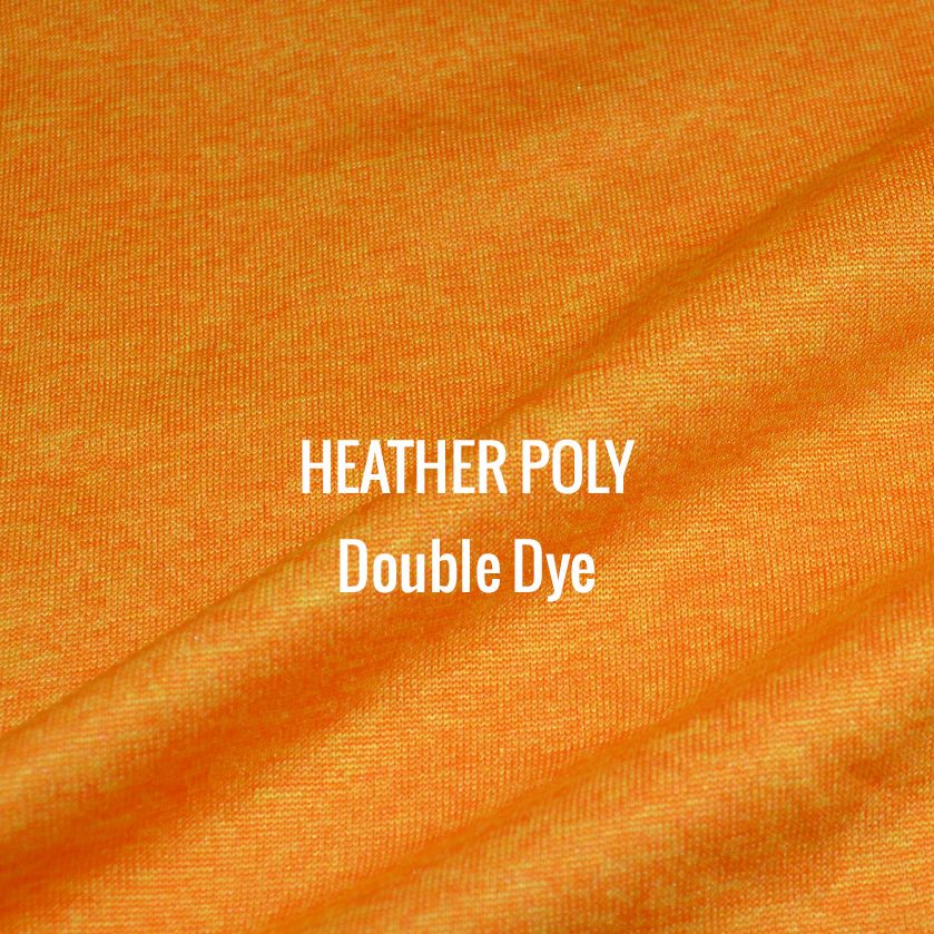 """""""HEATHER POLY"""" Double Dye I Shirt Fabric I 100% Performance poly tech fabric. Multiple woven colors blend for a heather appearance. Top of the line moisture management. Smooth touch feel. Texture looks and works great with screen printing"""