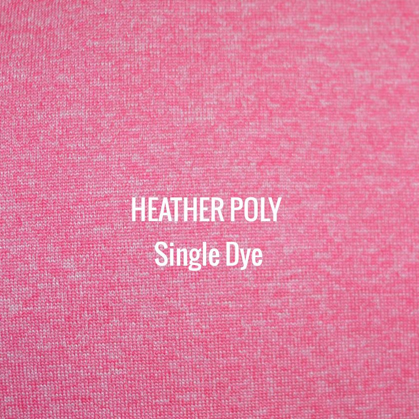 """""""HEATHER POLY"""" Single Dye I Shirt Fabric I 100% Performance Poly tech fabric. Woven color with white blend for a heather appearance. Top of the line moisture management. Smooth touch feel. Texture looks and works great with screen printing."""